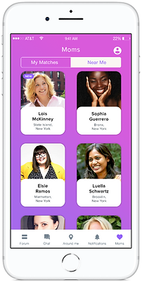 Phone screen showing personalized matches on mobile app SocialMama