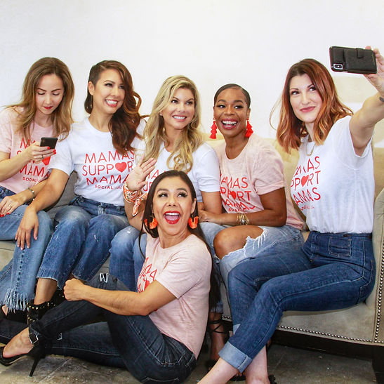 Group of women who are SocialMama ambassadors taking a selfie
