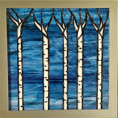"Birch Trees Panel 12""x12"" Framed"