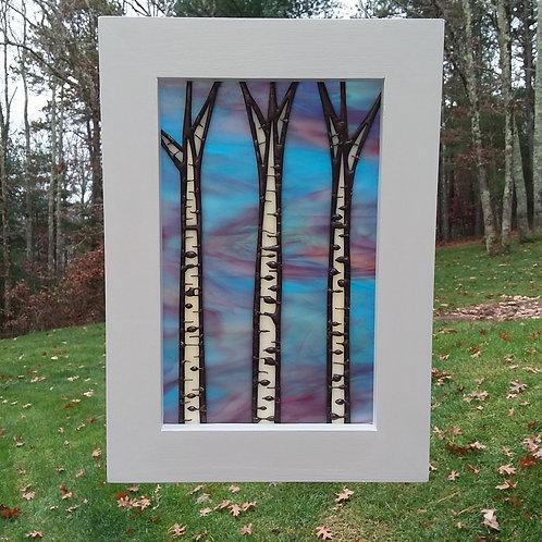 Three Birches Framed Panel