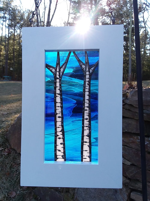 Two Birches Framed Panel
