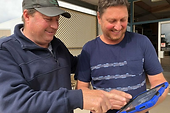 Kangaroo Island oyster farmer Ken Rowe demonstrates the new miShell Oyster Stock Management app