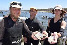 Kangaroo Island Shellfish team out on the oyster farm