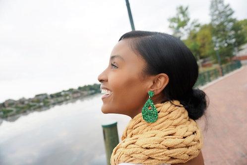 """""""Emerald Green Goddess"""" Beaded Earring"""