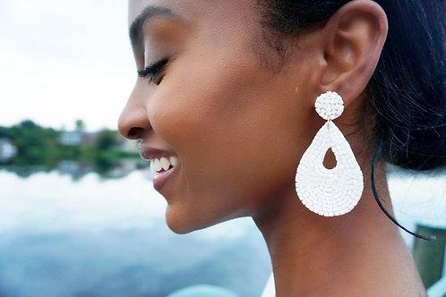 """""""All White Affair"""" Beaded Earring"""