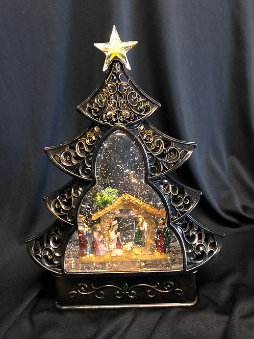 Nativity Tree Water Globe