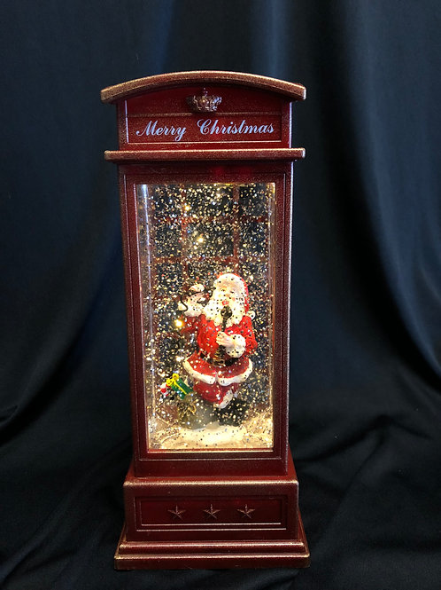 Santa Phone Booth Water Globe