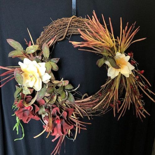 Maroon & White Floral Wreath