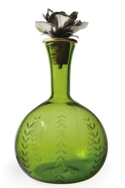 Green Decanter w/ Rose Stopper