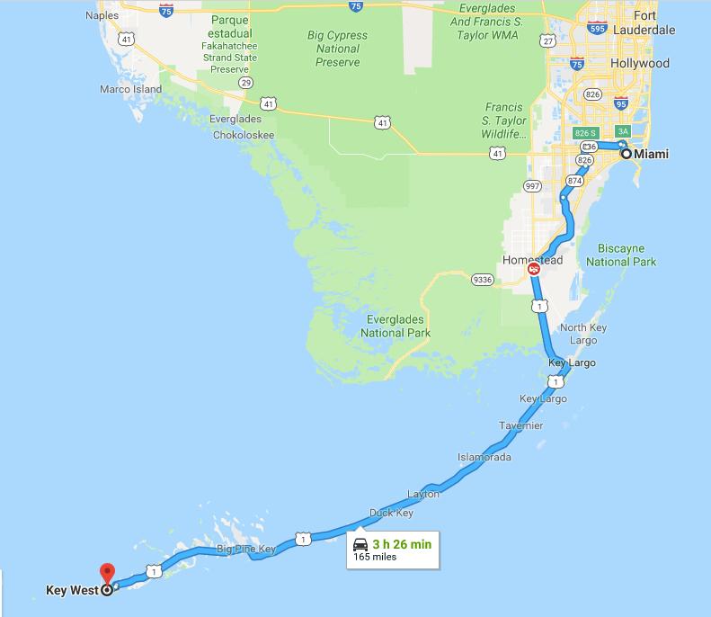 mapa Miami-Key West