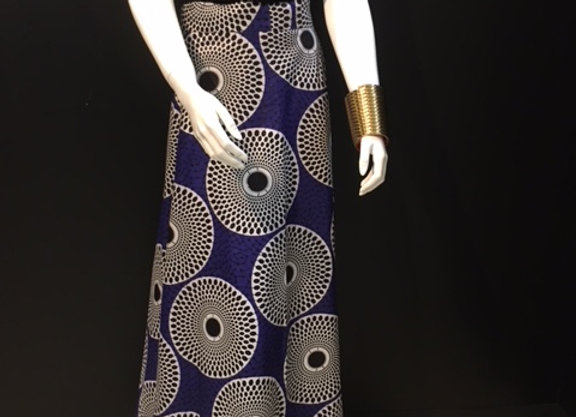 Purple Pattern Long Wrap Skirt by Bebey South Africa