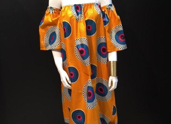 Orange Off the shoulder Mod Dress by Bebey South Africa