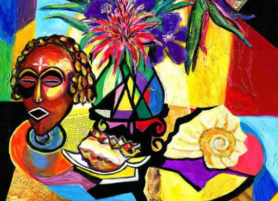 Still Life with Flora and African Mask
