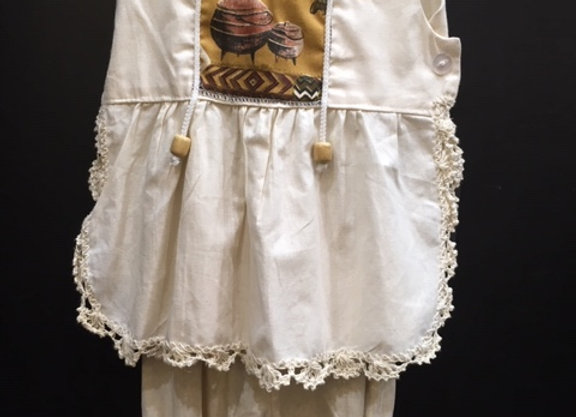 Cream Infant Girl Set with Bows and Crochet Trim