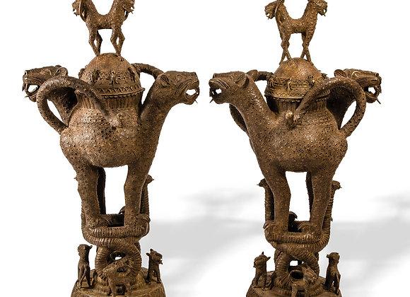 Benin Bronze Leopard Pots