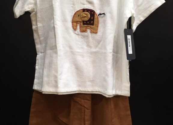 Boys Brown Elephant Short Set