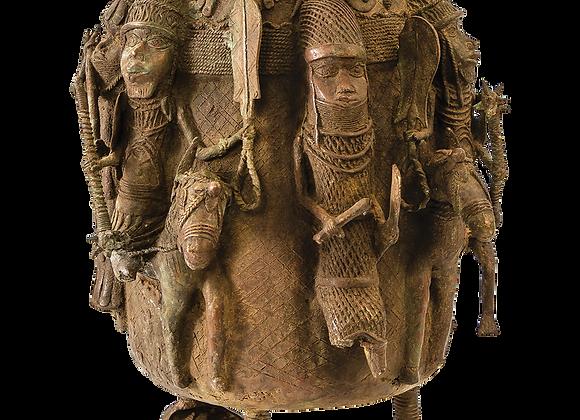 Benin Queen Calabash with Warriors