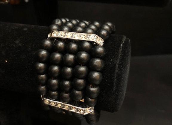 Large Black Wooden Bling Bracelet