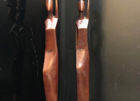 Pair of Wooden Ladies Candle Stick Holders