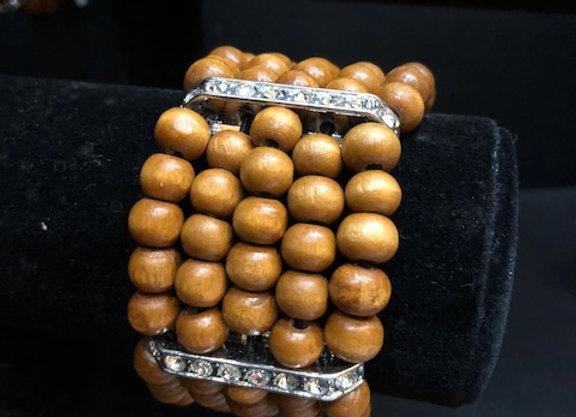 Large Brown Wooden Bling Bracelet