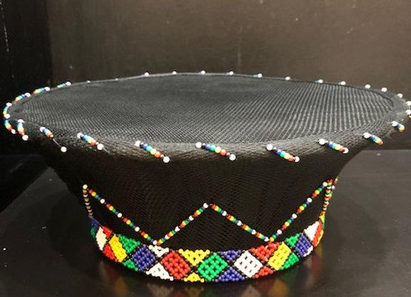 Black Zulu Beaded Hat