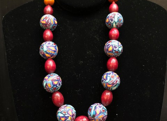 Floral Red Necklace by Kim Best