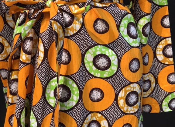 Women's Wrap Trench - Orange and Green Geo Pattern