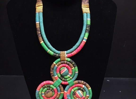 Multi-colored Cloth Circle Necklace