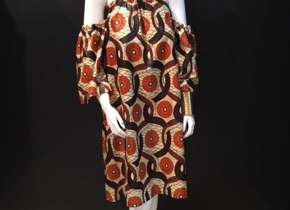 Brown/Orange Off the shoulder Mod Dress by Bebey South Africa