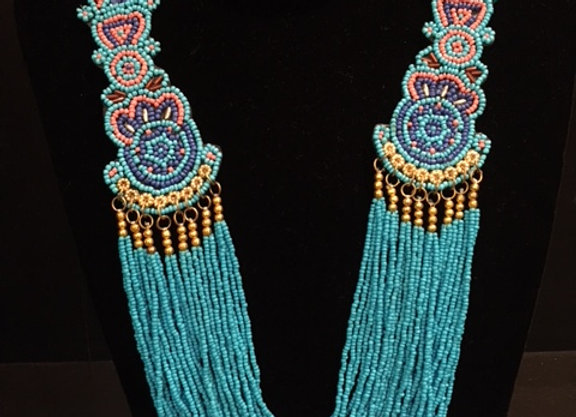 Turquoise Peacock Beaded Necklace