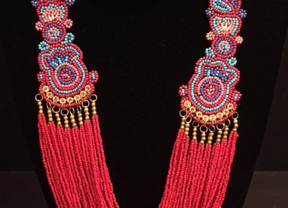 Red Peacock Beaded Necklace