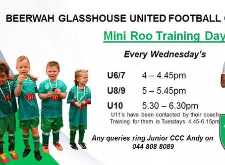 Mini Roos training times
