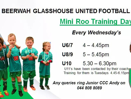 Mini Roos training times