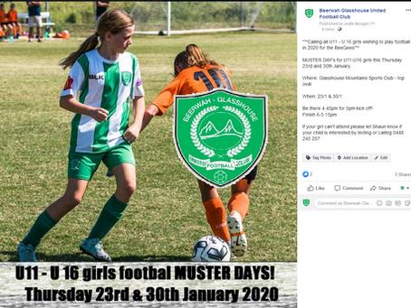 U11 - U16 Girls Muster