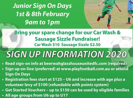 2020 Junior Sign on days