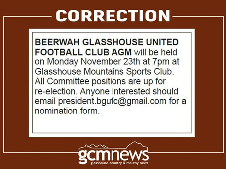Beerwah Glasshouse United AGM 23 November 2020 @ 7pm