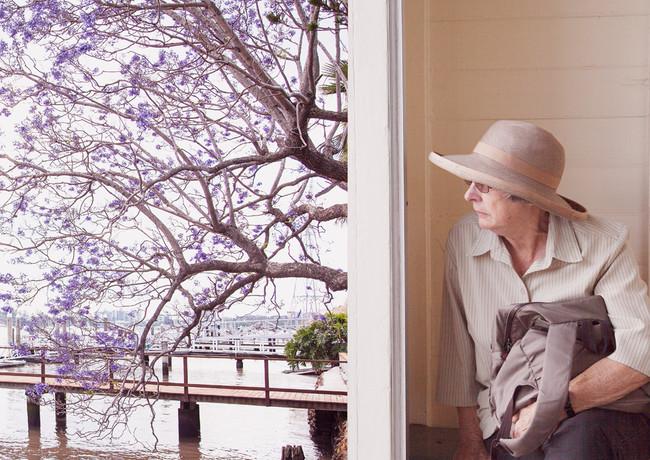 Woman and Jacaranda tree