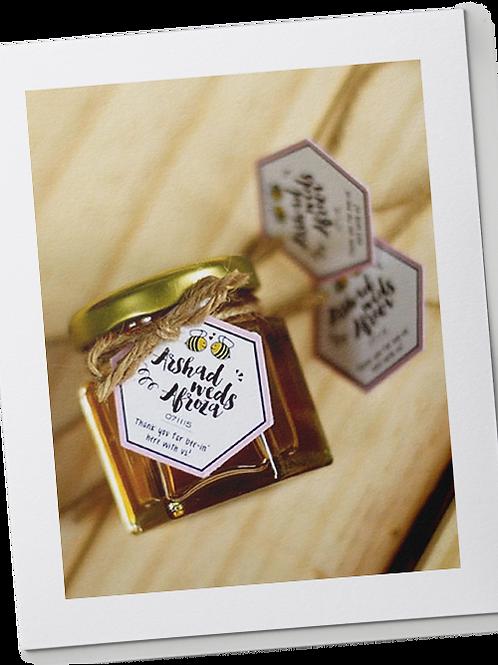 Honey in Hexagon Jars
