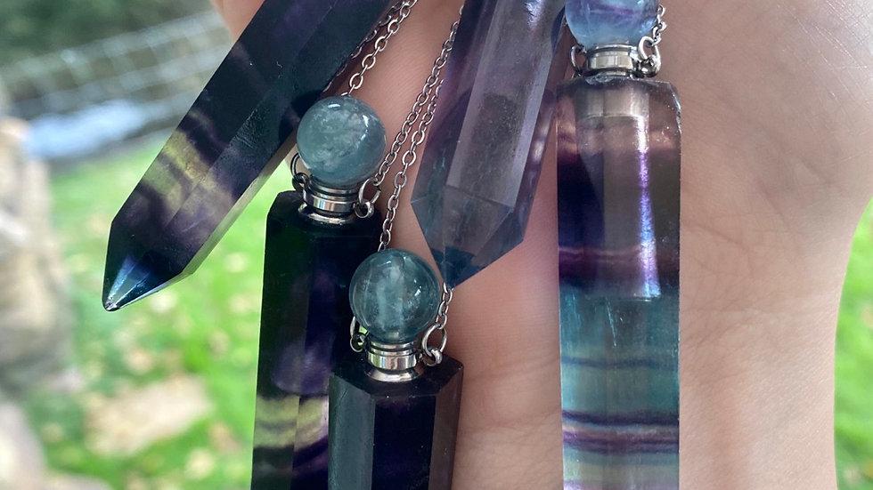 Long Fluorite perfume bottle necklace