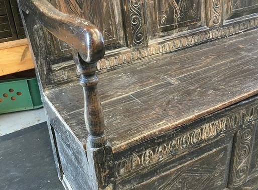 Late 17th Century Oak High Back Box Settle