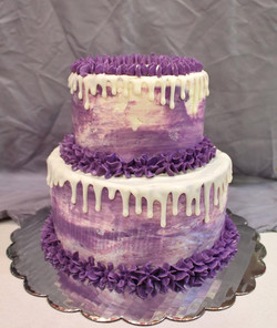 Two tier watercolor cake
