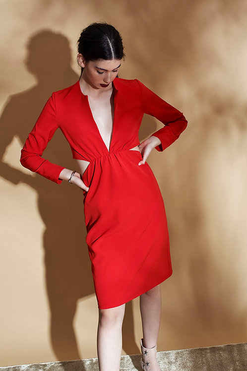 long sleeves RED dress