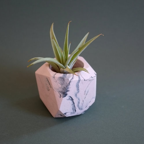 Pink marble geometric planter, minimalistic pot, available standing or hanging