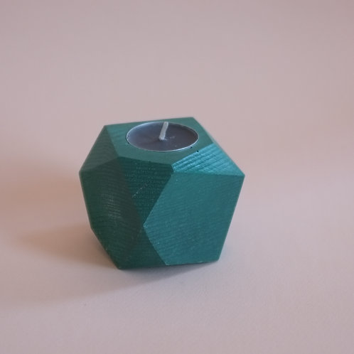 Forest green geometric tea light holder, minimalistic candle holder