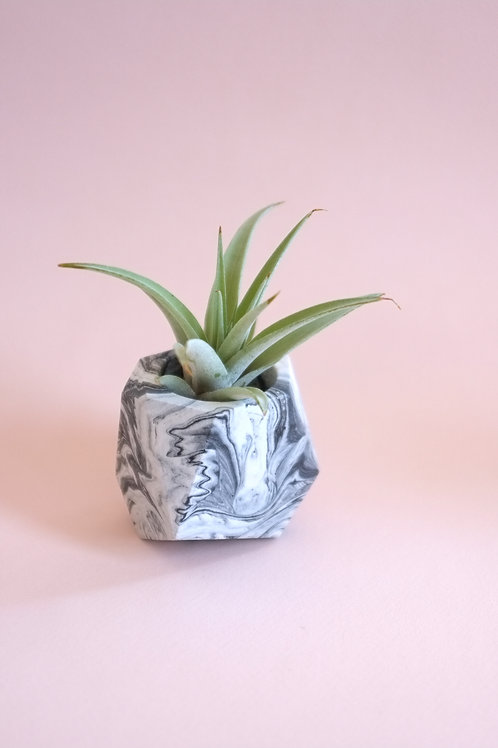 Marble geometric planter, minimalistic pot, available standing or hanging