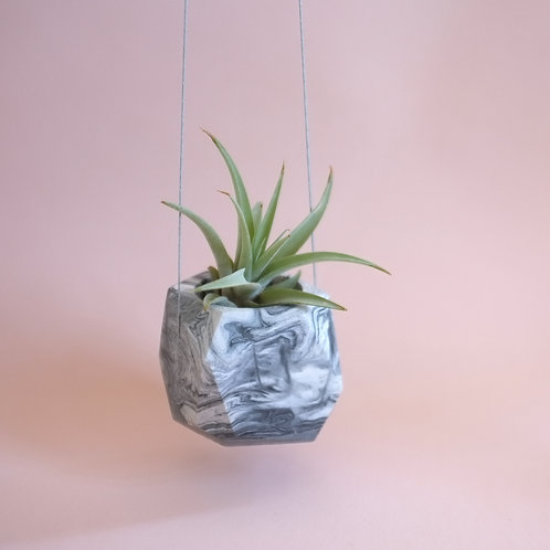 Marble geometric planter, minimalistic vase, available standing or hanging