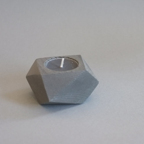 Stone grey geometric tea light holder, minimalistic candle holder