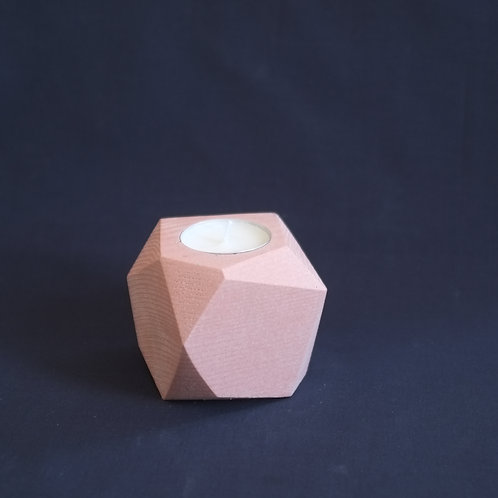 Pink geometric tea light holder, minimalistic candle holder