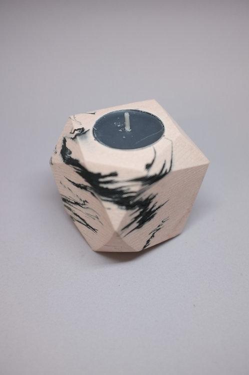 Pink marble geometric tea light holder, minimalistic candle holder