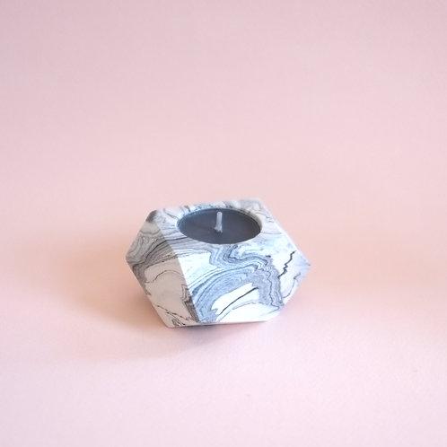 Marble geometric tea light holder, minimalistic candle holder